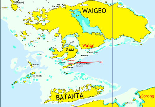 Map of the Raja Ampat islands